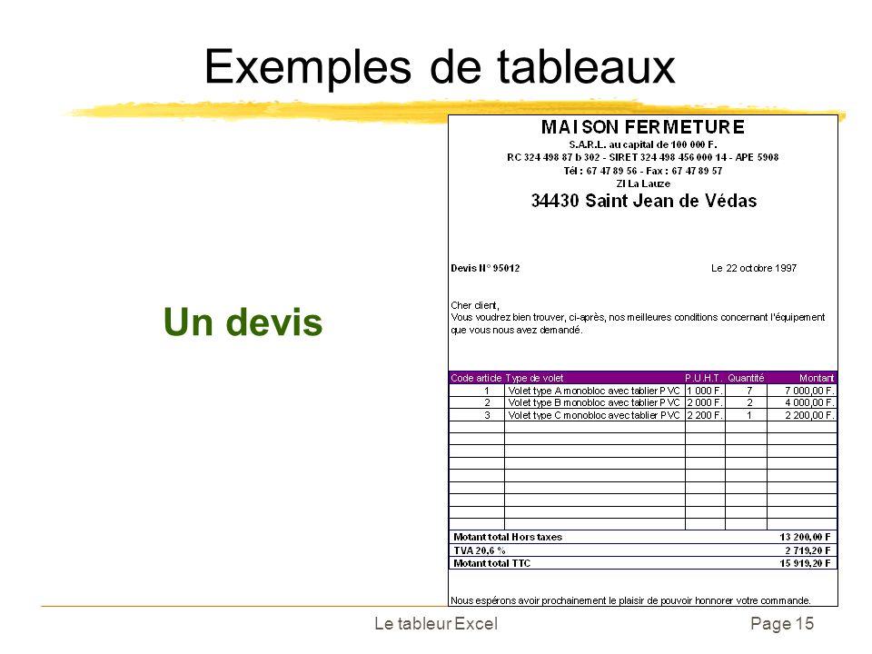 Exemples de tableaux Un devis Le tableur Excel