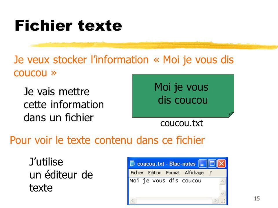 Fichier texte Je veux stocker l'information « Moi je vous dis coucou »