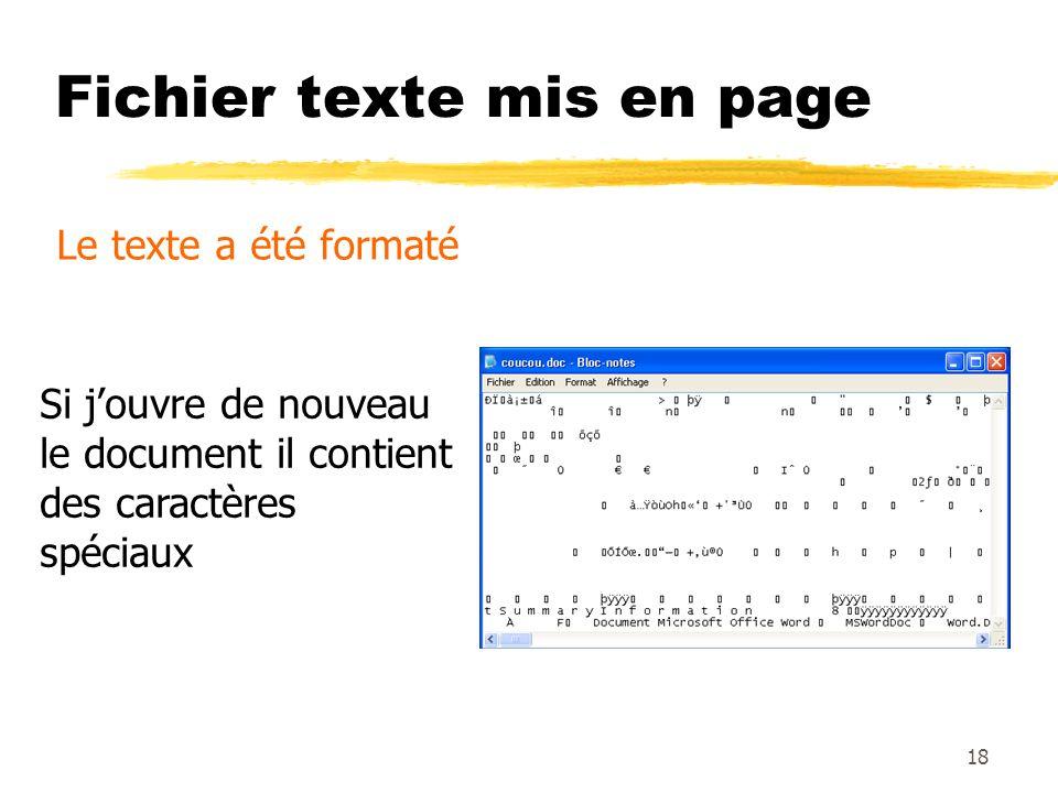 Fichier texte mis en page