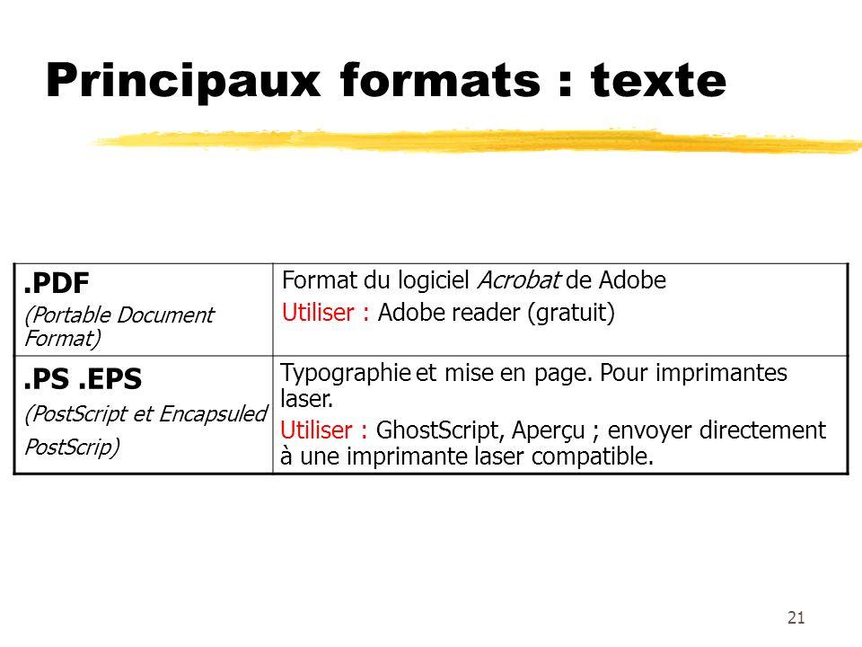 Principaux formats : texte