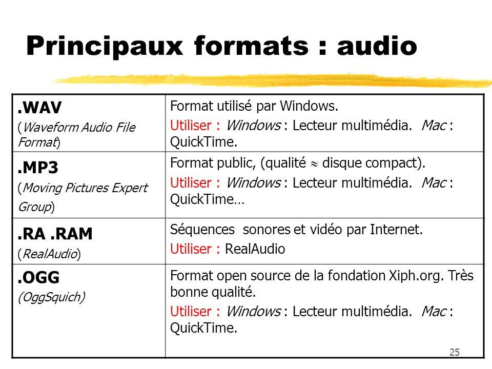 Principaux formats : audio