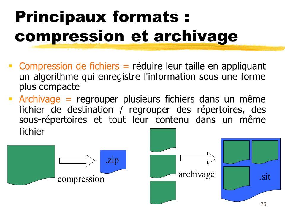 Principaux formats : compression et archivage