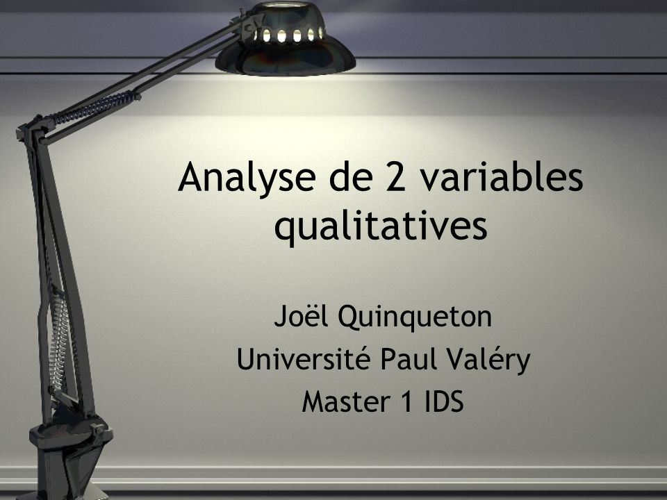 Analyse de 2 variables qualitatives