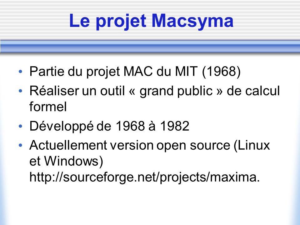 Le projet Macsyma Partie du projet MAC du MIT (1968)