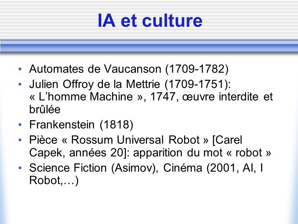 IA et culture Automates de Vaucanson (1709-1782)