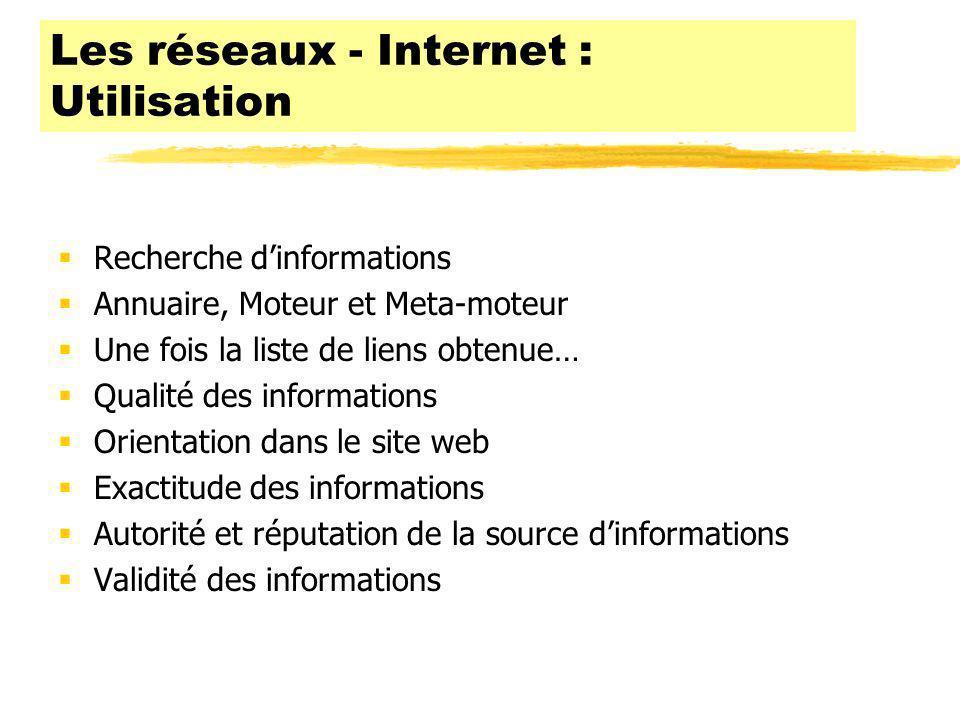 Les réseaux - Internet : Utilisation
