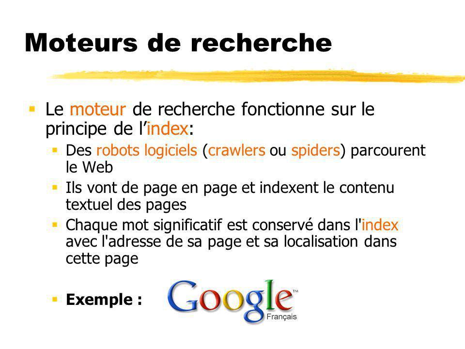 Moteurs de recherche Le moteur de recherche fonctionne sur le principe de l'index: Des robots logiciels (crawlers ou spiders) parcourent le Web.