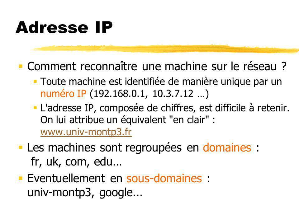 Adresse IP Comment reconnaître une machine sur le réseau