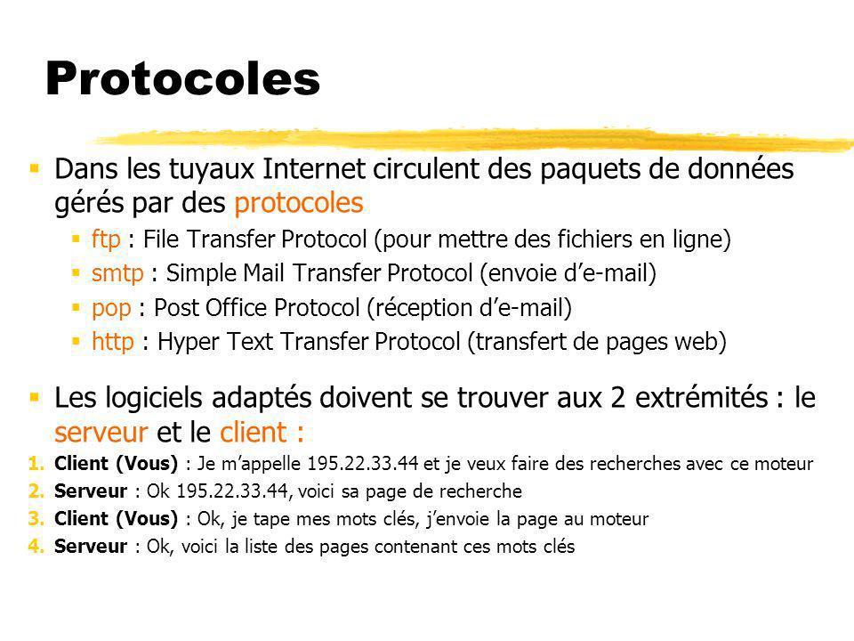 Protocoles Dans les tuyaux Internet circulent des paquets de données gérés par des protocoles.