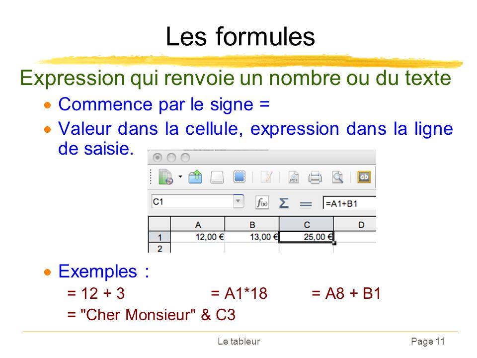Les formules Expression qui renvoie un nombre ou du texte