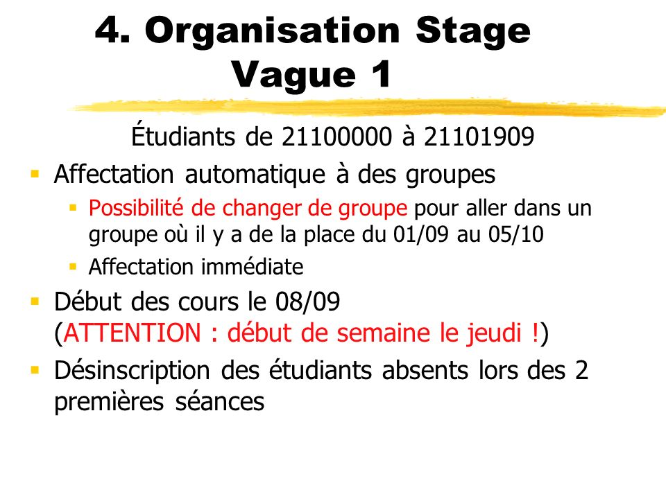 4. Organisation Stage Vague 1