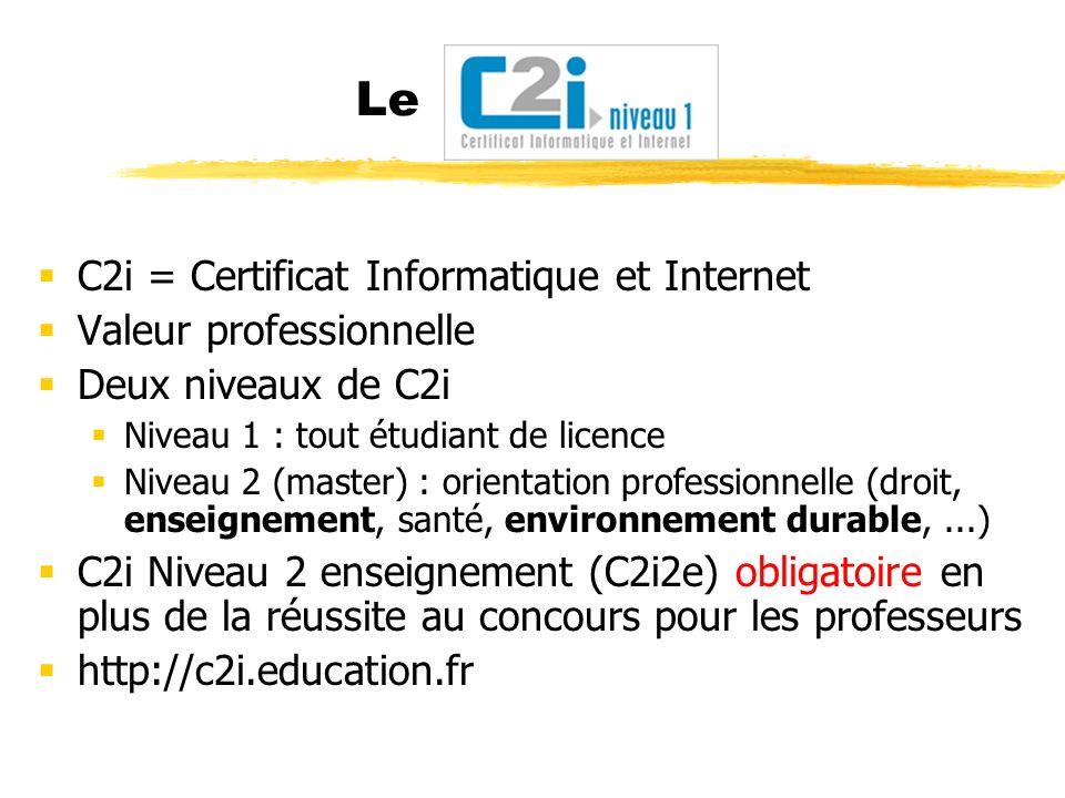 Le C2i = Certificat Informatique et Internet Valeur professionnelle