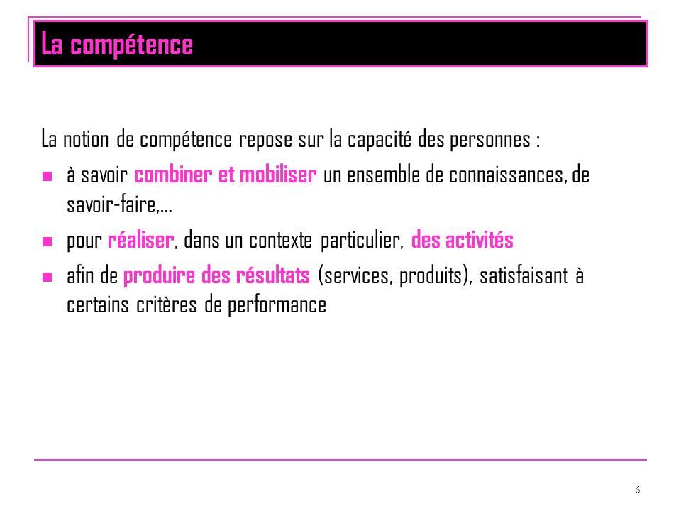 La compétence La notion de compétence repose sur la capacité des personnes :
