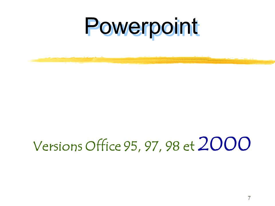 Powerpoint Versions Office 95, 97, 98 et 2000