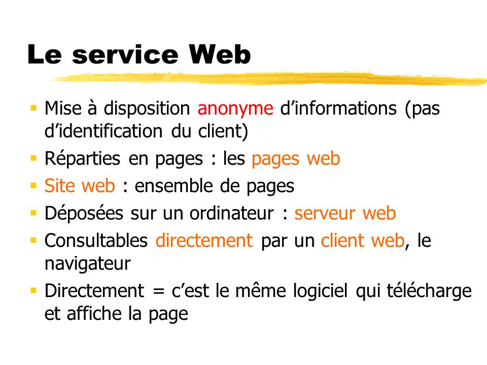 Le service Web Mise à disposition anonyme d'informations (pas d'identification du client) Réparties en pages : les pages web.