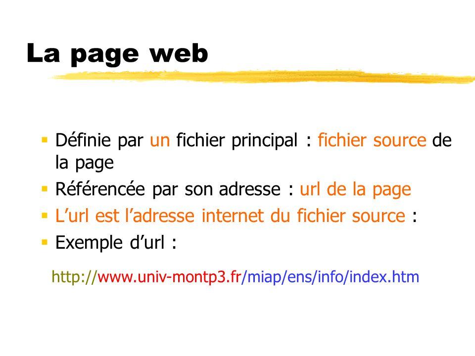 La page web Définie par un fichier principal : fichier source de la page. Référencée par son adresse : url de la page.