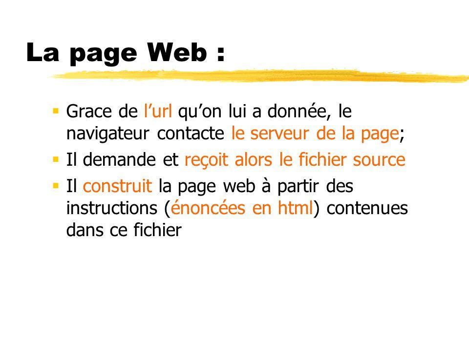 La page Web : Grace de l'url qu'on lui a donnée, le navigateur contacte le serveur de la page; Il demande et reçoit alors le fichier source.