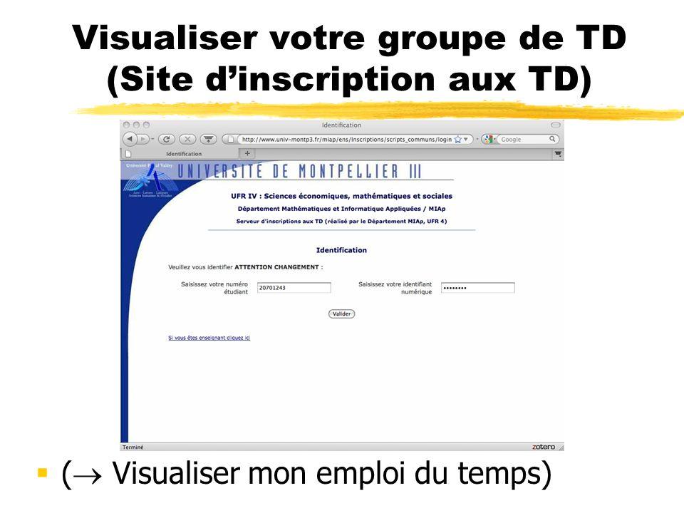 Visualiser votre groupe de TD (Site d'inscription aux TD)