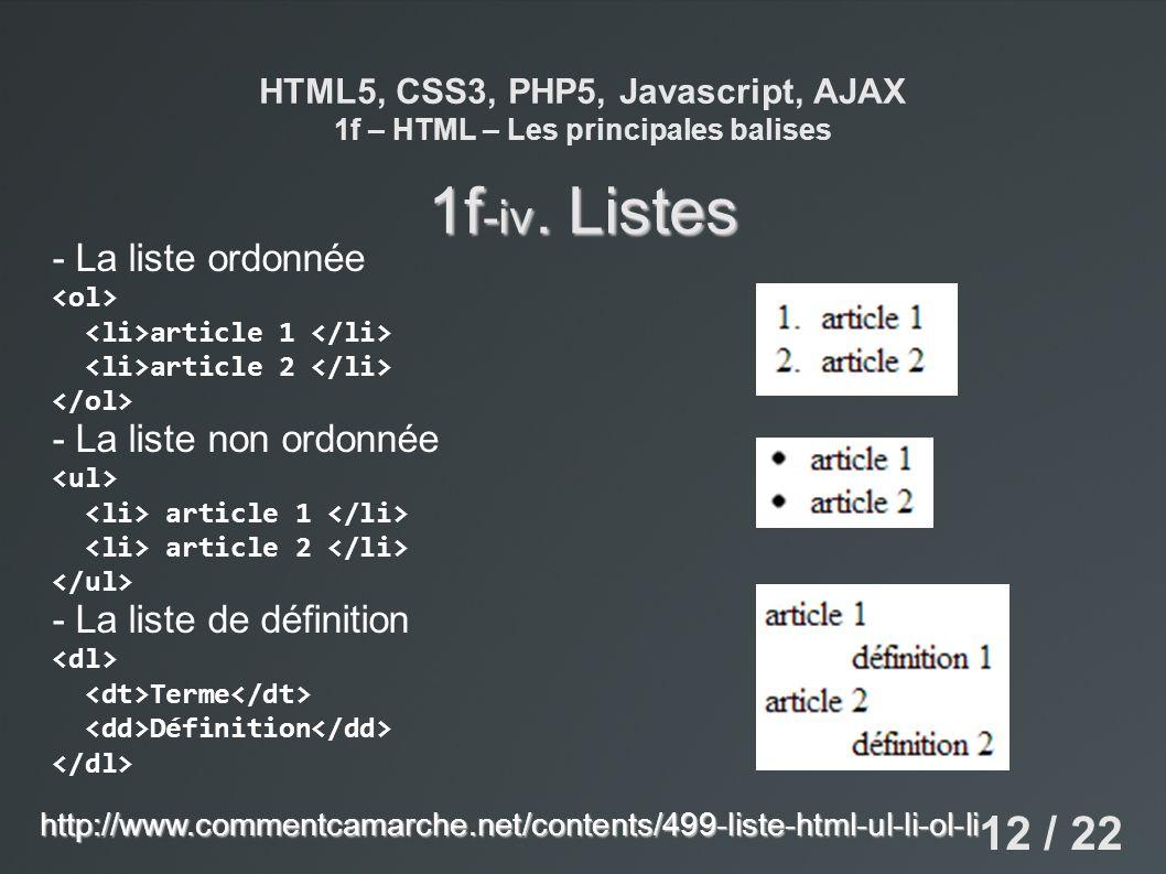 1f-iv. Listes 12 / 22 - La liste ordonnée - La liste non ordonnée