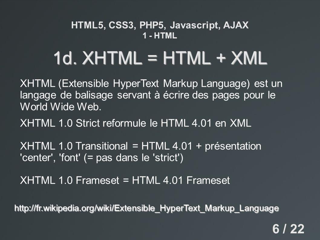 HTML5, CSS3, PHP5, Javascript, AJAX 1 - HTML