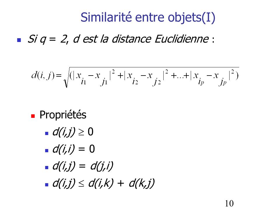 Similarité entre objets(I)