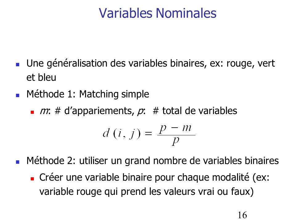Variables NominalesUne généralisation des variables binaires, ex: rouge, vert et bleu. Méthode 1: Matching simple.