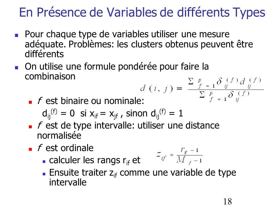 En Présence de Variables de différents Types