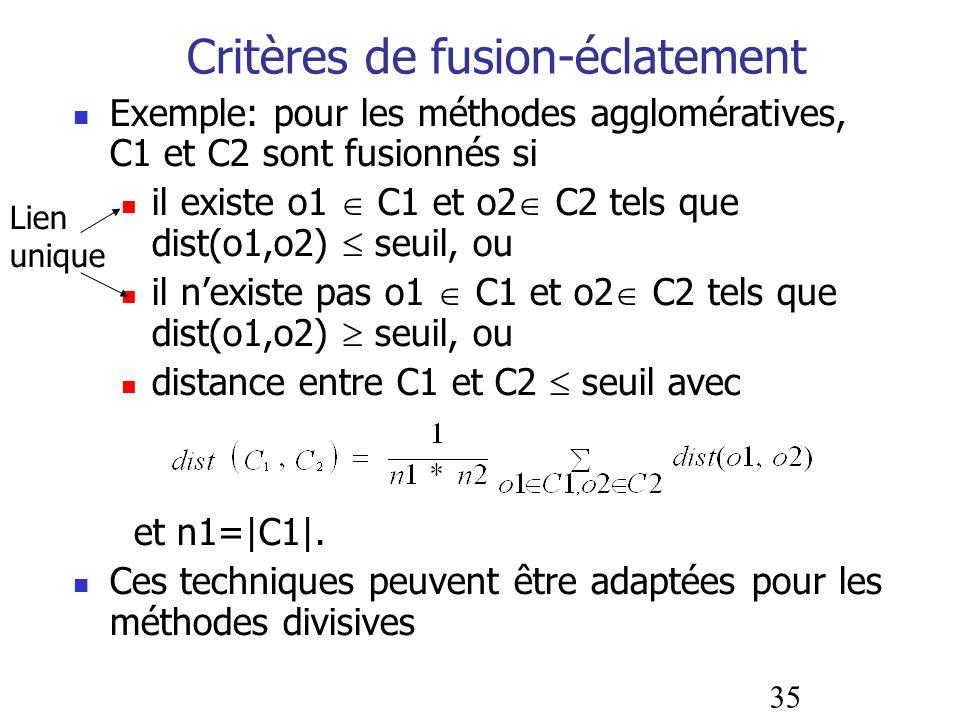 Critères de fusion-éclatement