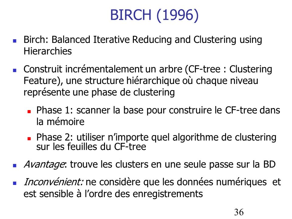 BIRCH (1996)Birch: Balanced Iterative Reducing and Clustering using Hierarchies.