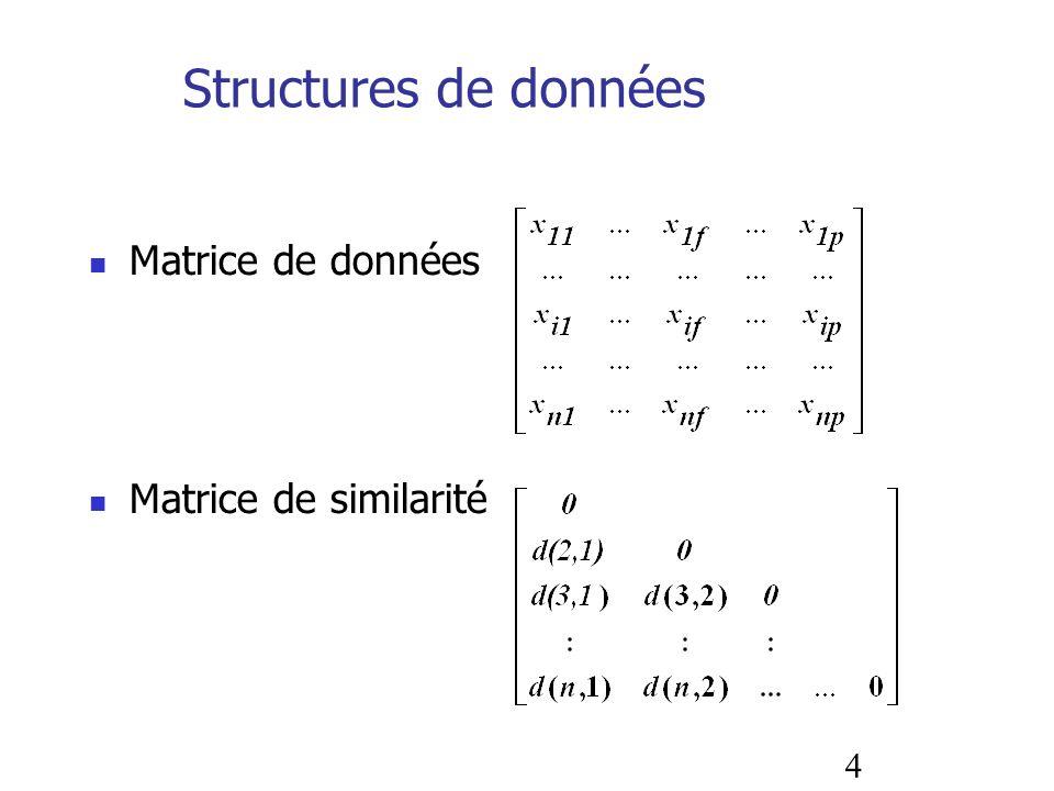 Structures de données Matrice de données Matrice de similarité