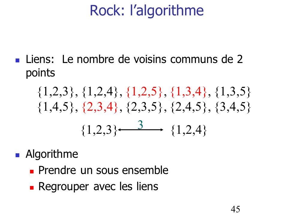 Rock: l'algorithme {1,2,3}, {1,2,4}, {1,2,5}, {1,3,4}, {1,3,5}