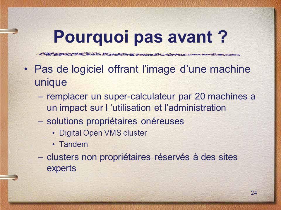 Pourquoi pas avant Pas de logiciel offrant l'image d'une machine unique.