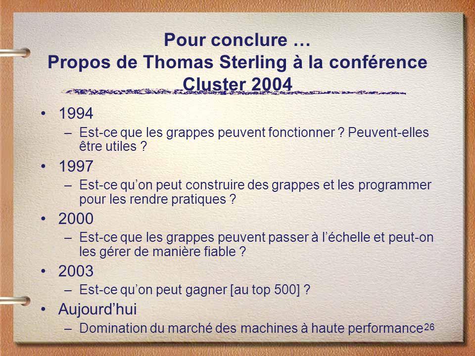 Pour conclure … Propos de Thomas Sterling à la conférence Cluster 2004