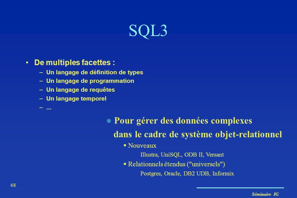 SQL3 Pour gérer des données complexes