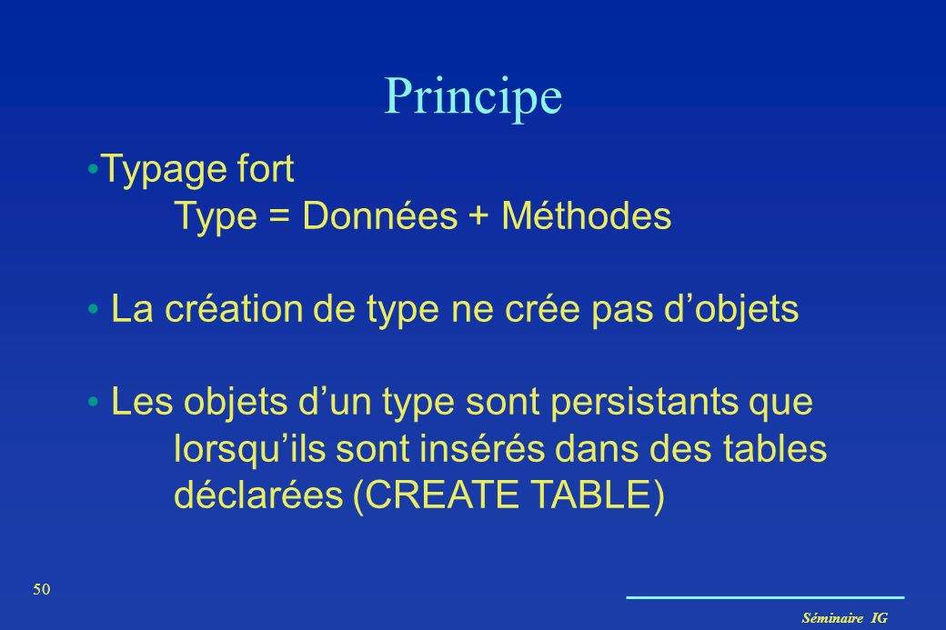 Principe Typage fort Type = Données + Méthodes