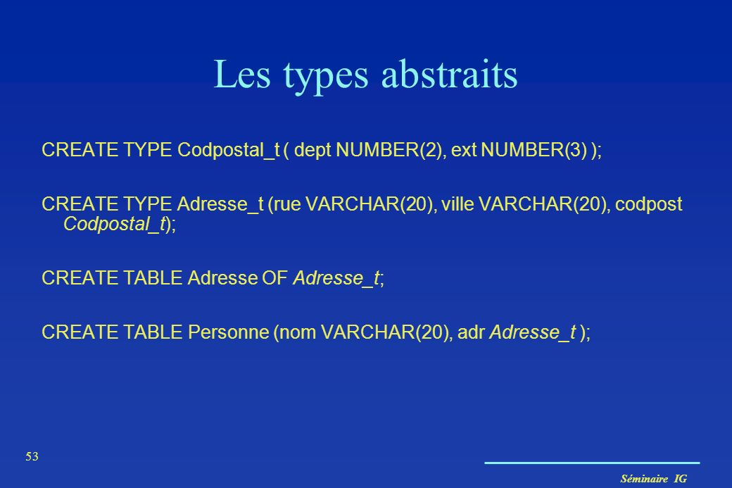 Les types abstraits CREATE TYPE Codpostal_t ( dept NUMBER(2), ext NUMBER(3) );