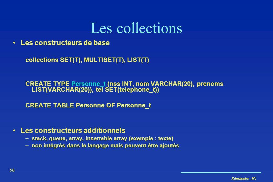 Les collections Les constructeurs de base