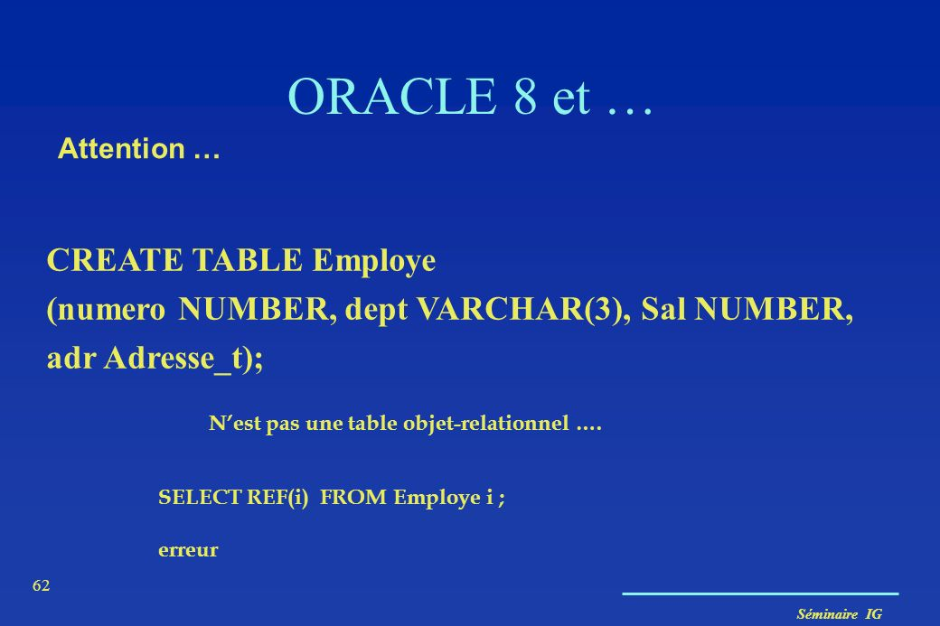 ORACLE 8 et … CREATE TABLE Employe