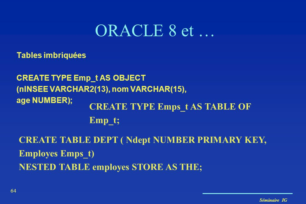 ORACLE 8 et … CREATE TYPE Emps_t AS TABLE OF Emp_t;