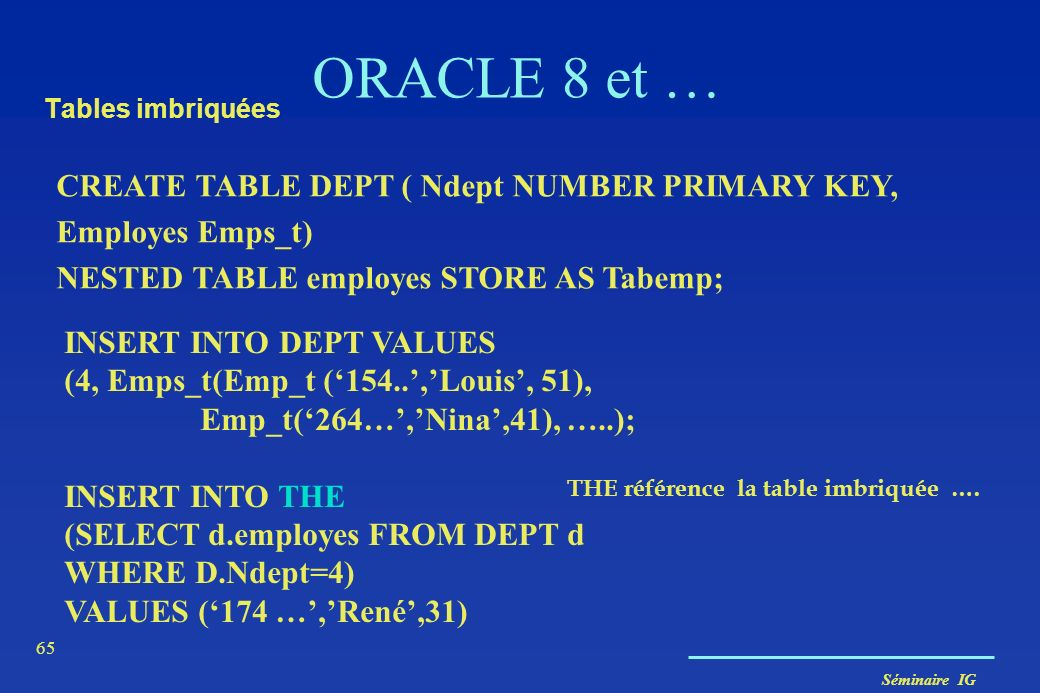 ORACLE 8 et … CREATE TABLE DEPT ( Ndept NUMBER PRIMARY KEY,