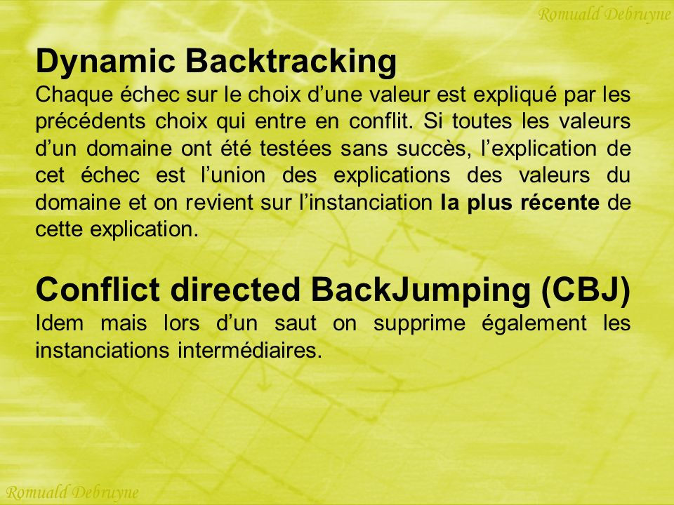 Conflict directed BackJumping (CBJ)