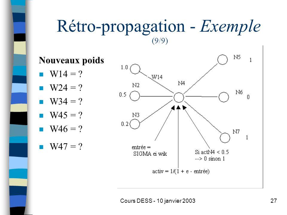 Rétro-propagation - Exemple (9/9)