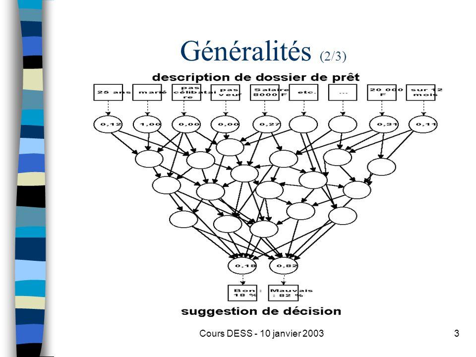 Généralités (2/3) Cours DESS - 10 janvier 2003