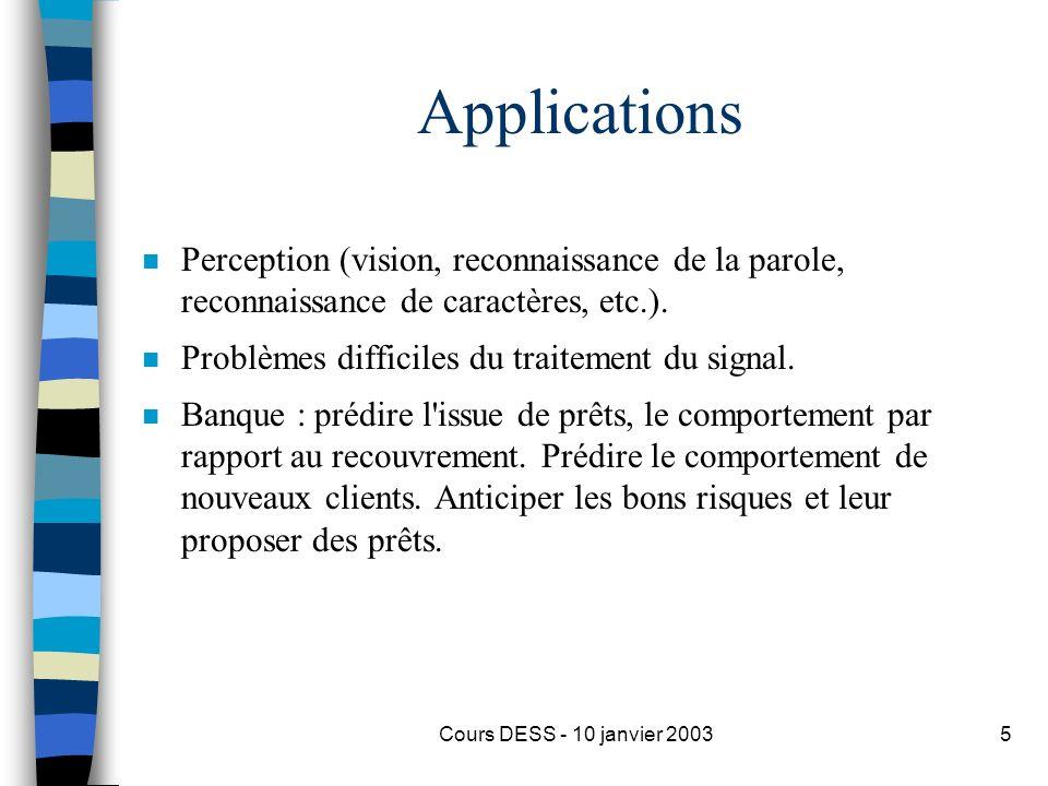 Applications Perception (vision, reconnaissance de la parole, reconnaissance de caractères, etc.).