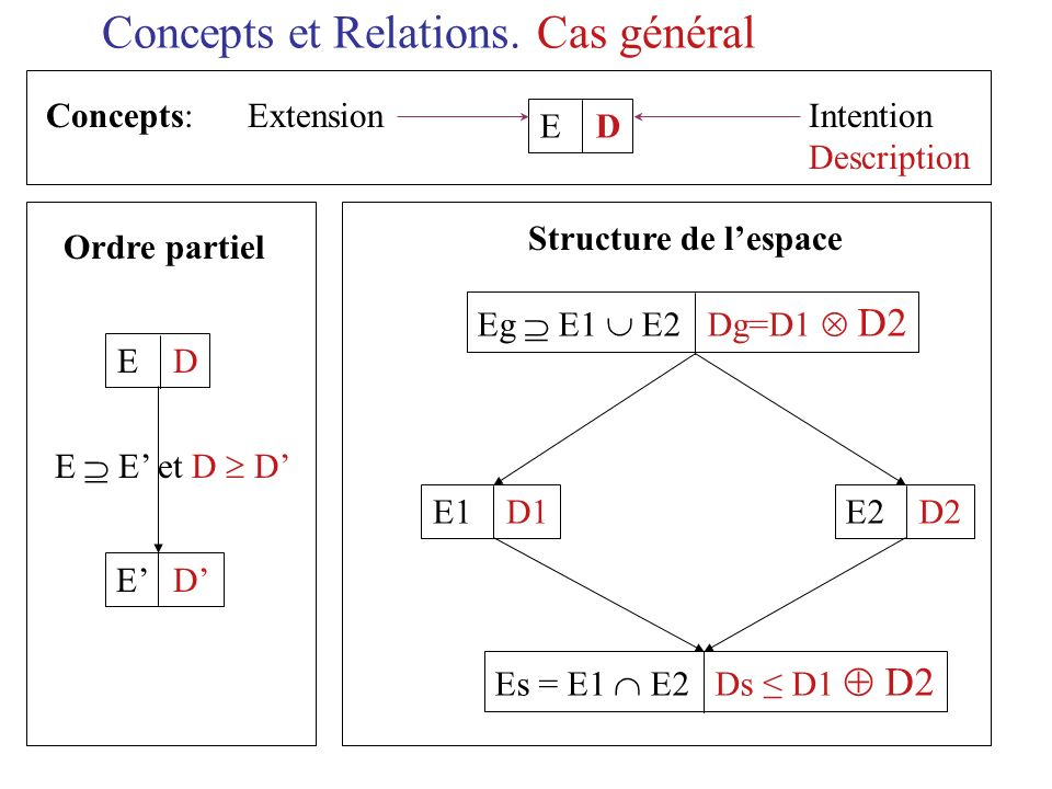 Concepts et Relations. Cas général Concepts: Extension Intention