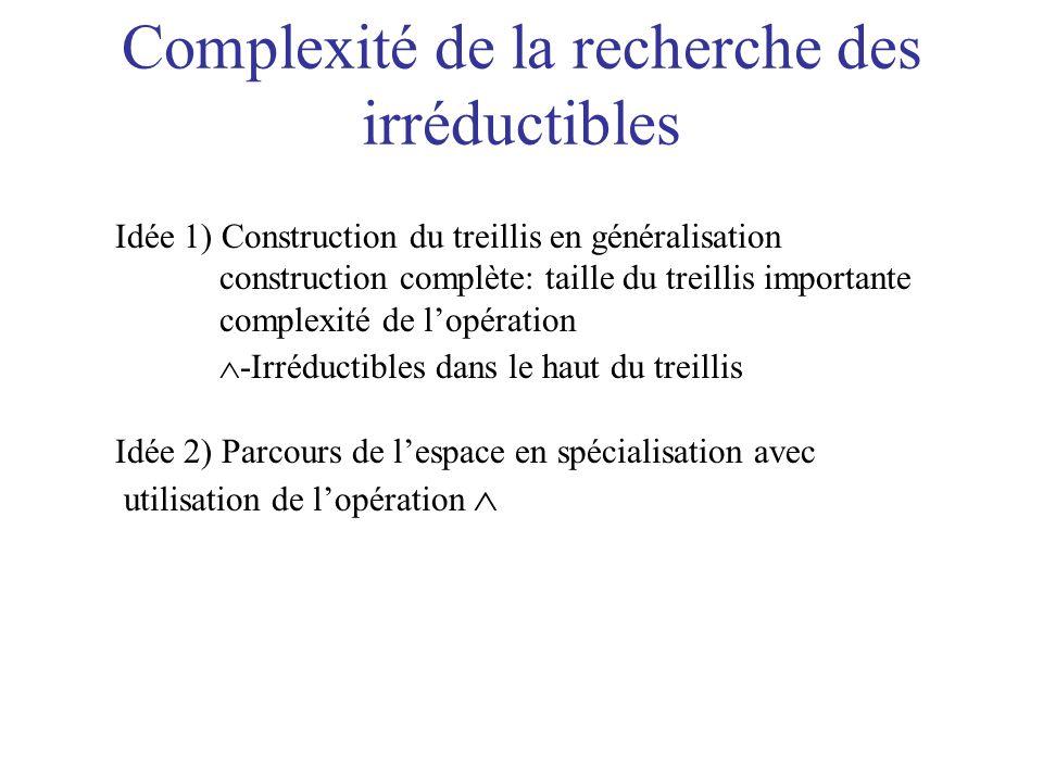 Complexité de la recherche des irréductibles