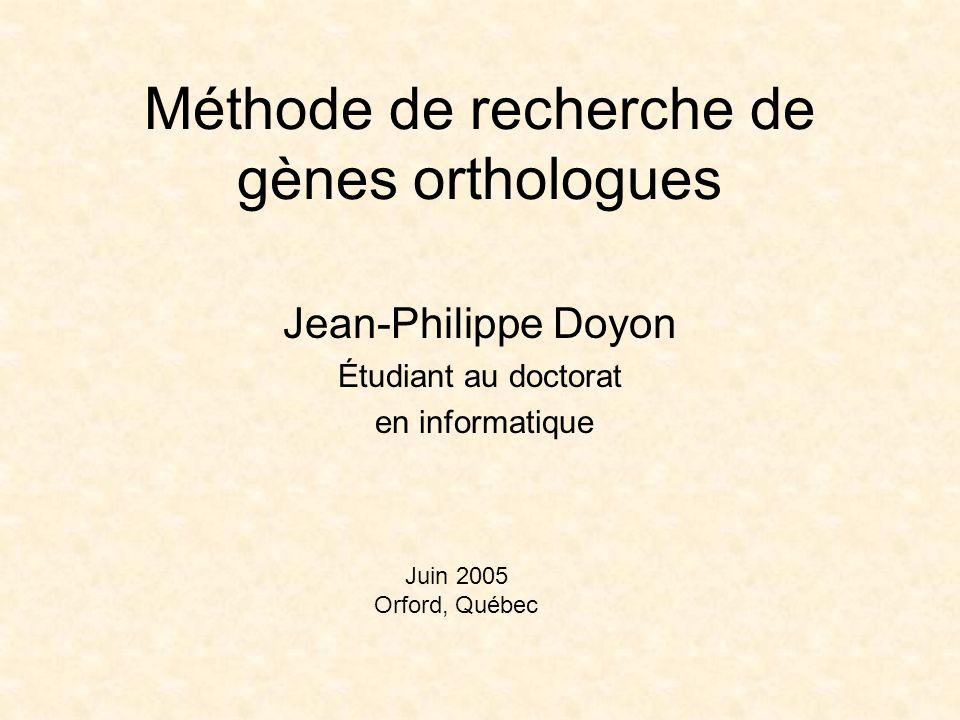 Méthode de recherche de gènes orthologues