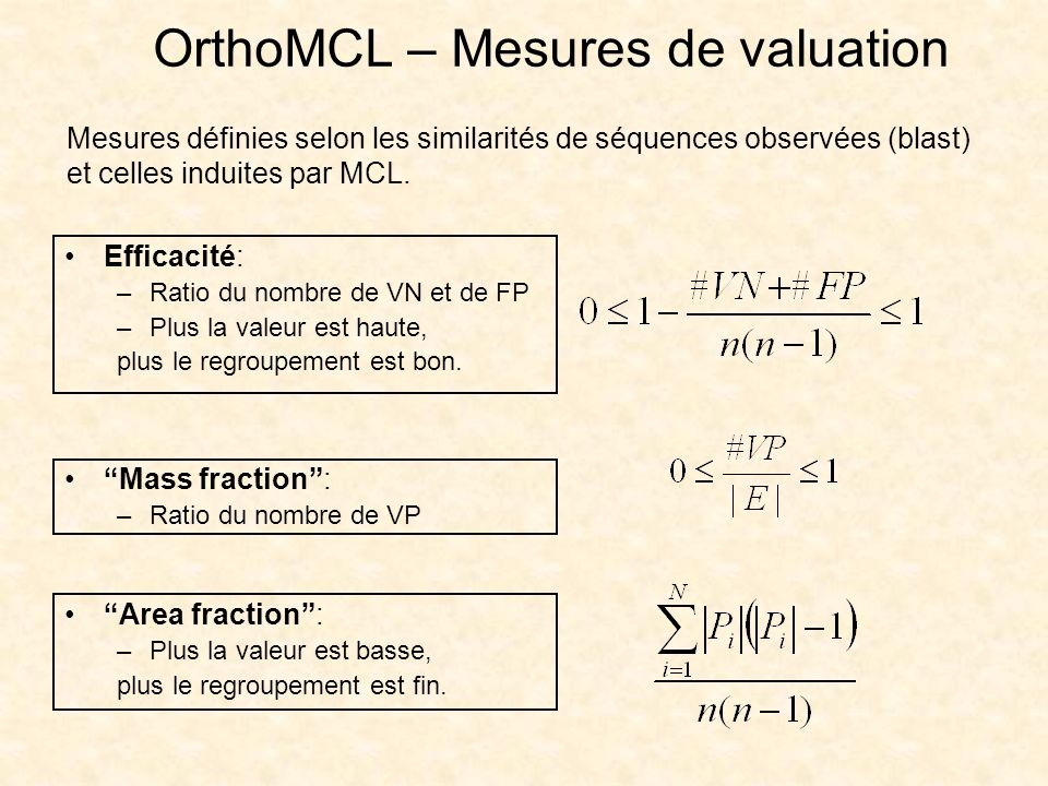 OrthoMCL – Mesures de valuation