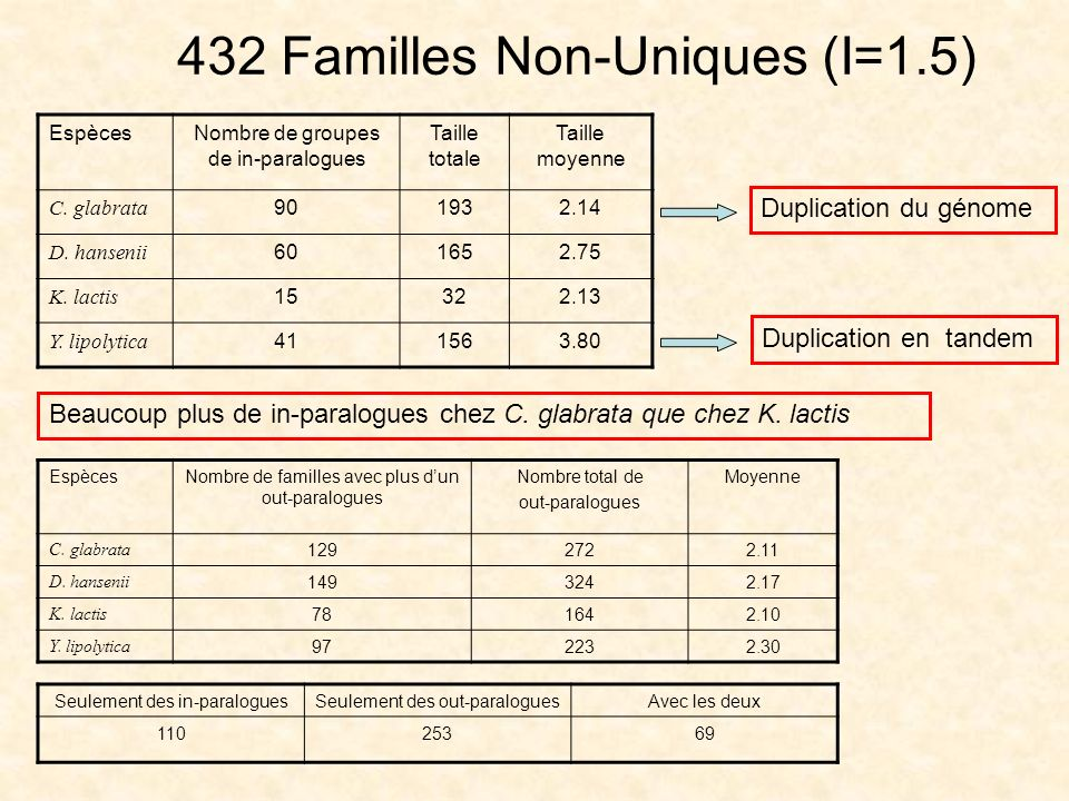 432 Familles Non-Uniques (I=1.5)