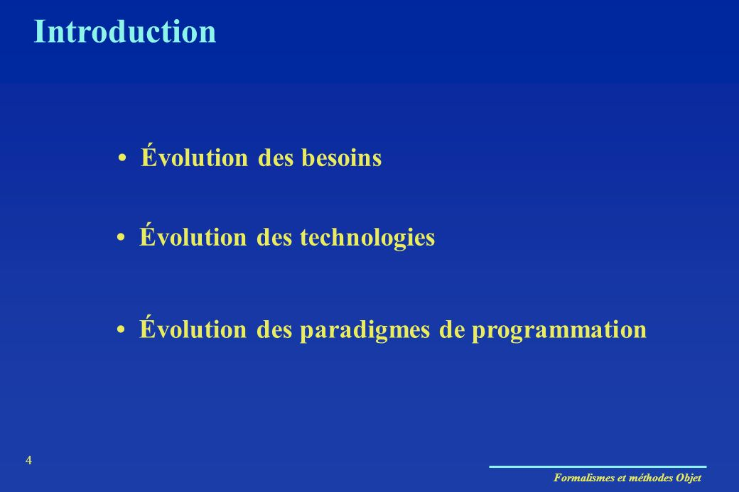 Introduction • Évolution des besoins • Évolution des technologies